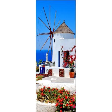 Papier peint porte d co moulin a vent vue sur la mer art d co stickers - Moulin a vent deco ...
