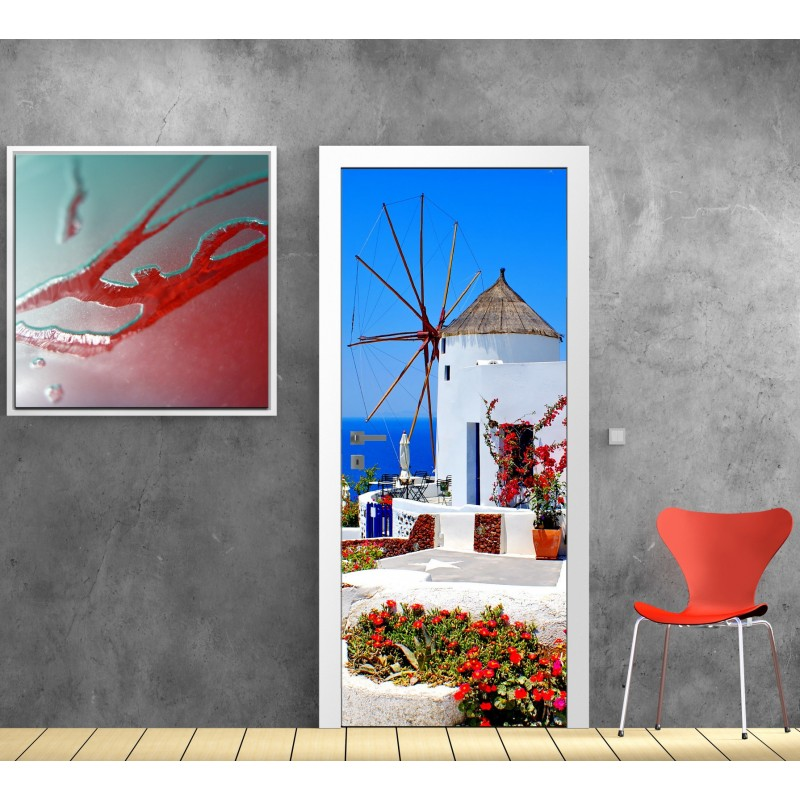 papier peint porte d co moulin a vent vue sur la mer art d co stickers. Black Bedroom Furniture Sets. Home Design Ideas
