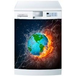 Stickers lave vaisselle ou magnet lave vaisselle Planète feux eau