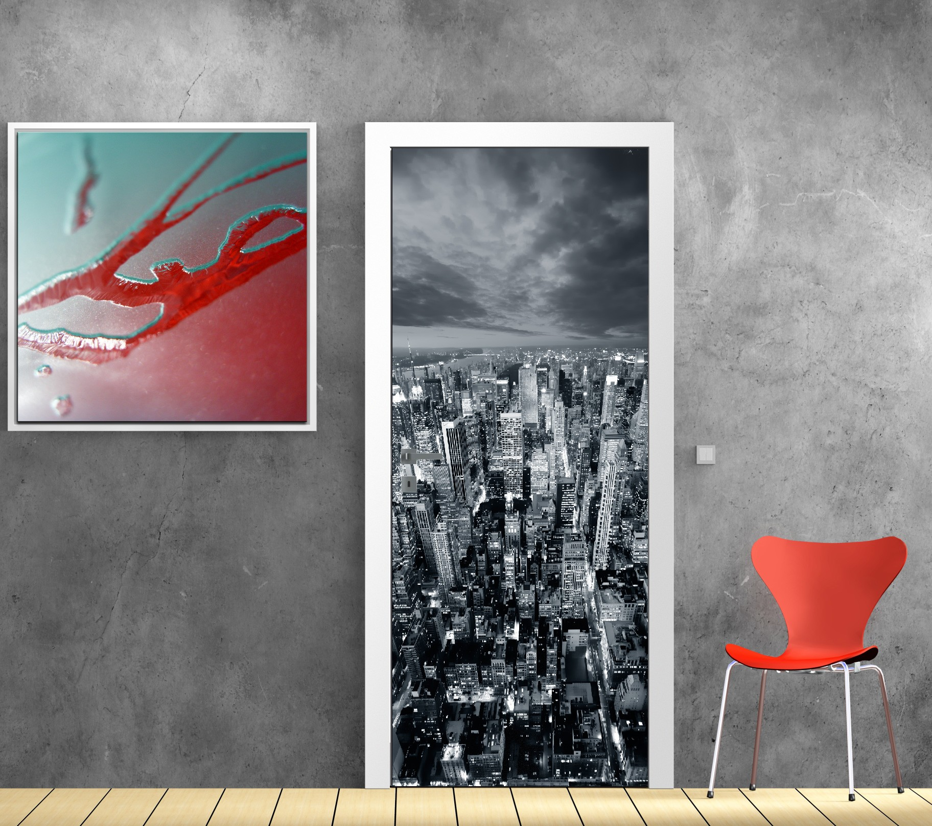 Papier Peint Porte Déco New York Art Déco Stickers - Stickers de porte