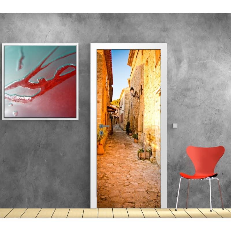 Affiche poster format porte d co ruelle soleil art d co for Affiche deco