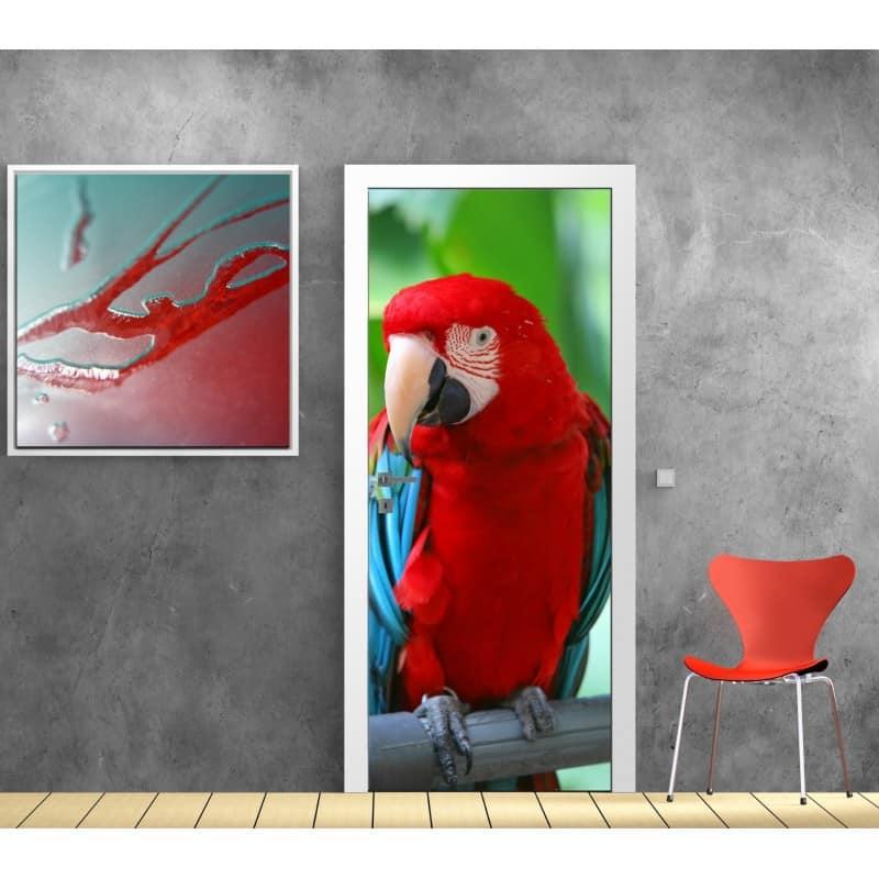 papier peint porte d co perroquet art d co stickers. Black Bedroom Furniture Sets. Home Design Ideas