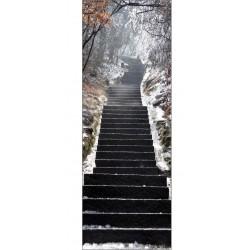 Papier peint porte déco - escalier neige