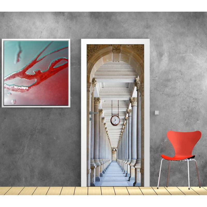 Papier peint porte d co couloir art d co stickers - Papier peint pour porte ...