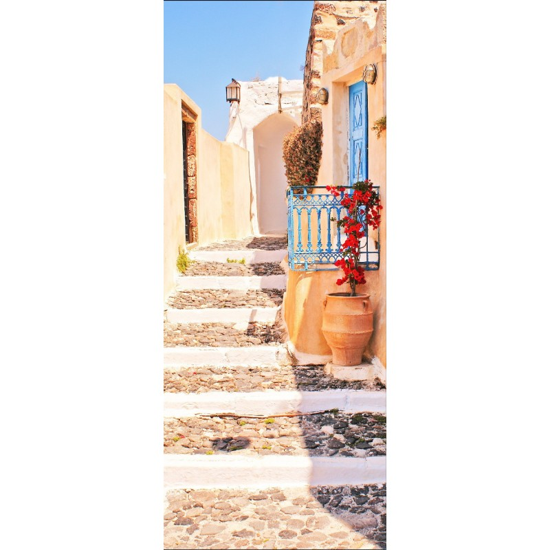 affiche poster pour porte escalier soleil art d co stickers. Black Bedroom Furniture Sets. Home Design Ideas