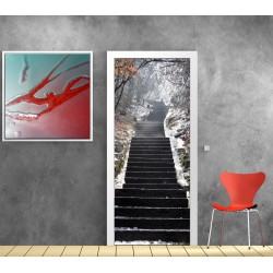 Affiche poster pour porte - Escalier hiver