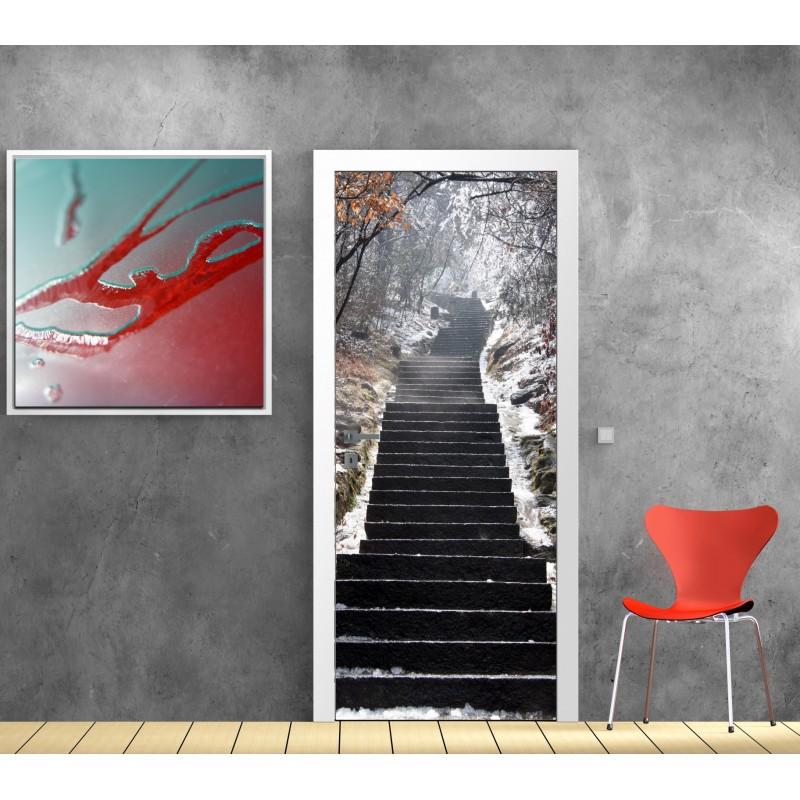 affiche poster pour porte escalier hiver art d co stickers. Black Bedroom Furniture Sets. Home Design Ideas