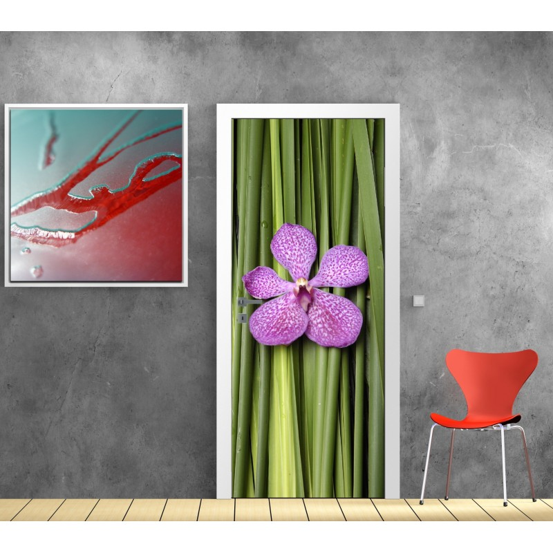 affiche poster pour porte fleur bambous art d co stickers. Black Bedroom Furniture Sets. Home Design Ideas