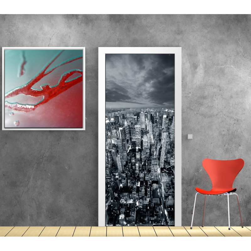 affiche poster pour porte new york art d co stickers. Black Bedroom Furniture Sets. Home Design Ideas