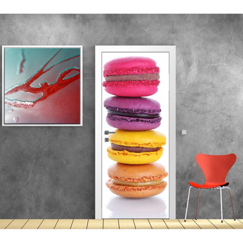 affiche poster pour porte macarons art d co stickers. Black Bedroom Furniture Sets. Home Design Ideas