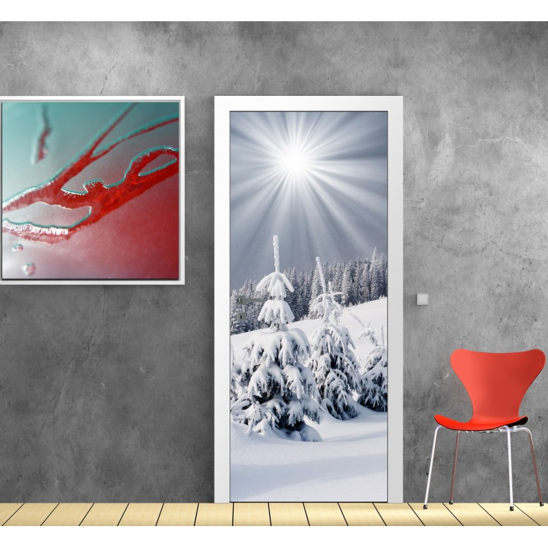 affiche poster pour porte montagne neige art d co stickers. Black Bedroom Furniture Sets. Home Design Ideas