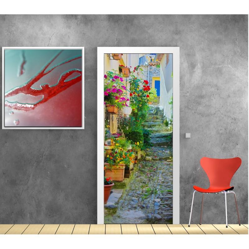 affiche poster pour porte ruelle fleurie art d co stickers. Black Bedroom Furniture Sets. Home Design Ideas