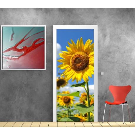affiche poster pour porte tournesol art d co stickers. Black Bedroom Furniture Sets. Home Design Ideas
