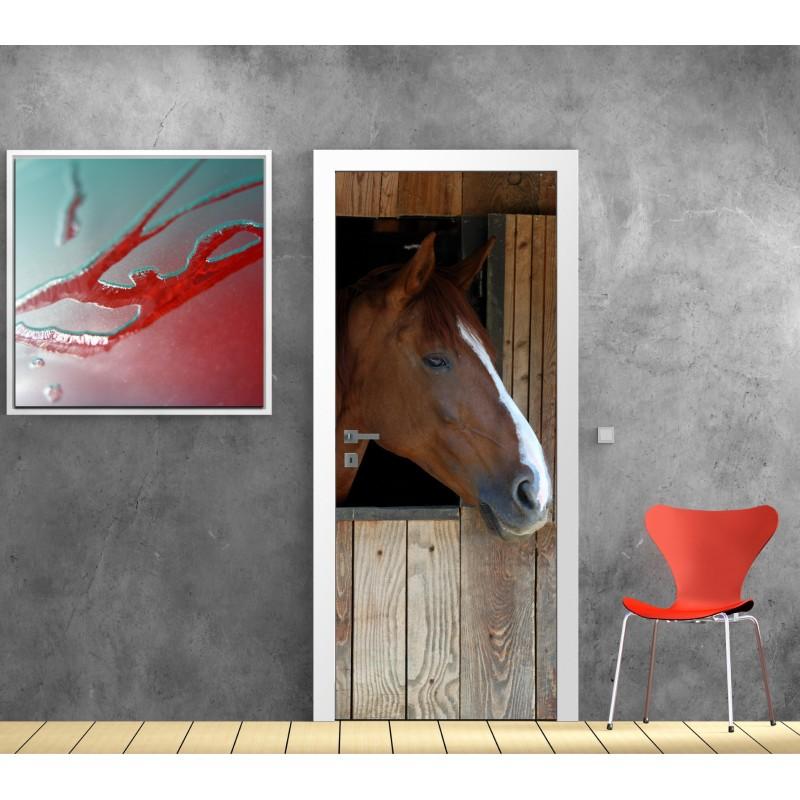 affiche poster pour porte cheval art d co stickers. Black Bedroom Furniture Sets. Home Design Ideas