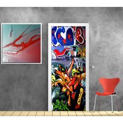 affiche poster de porte trompe l 39 oeil biblioth que art d co stickers. Black Bedroom Furniture Sets. Home Design Ideas