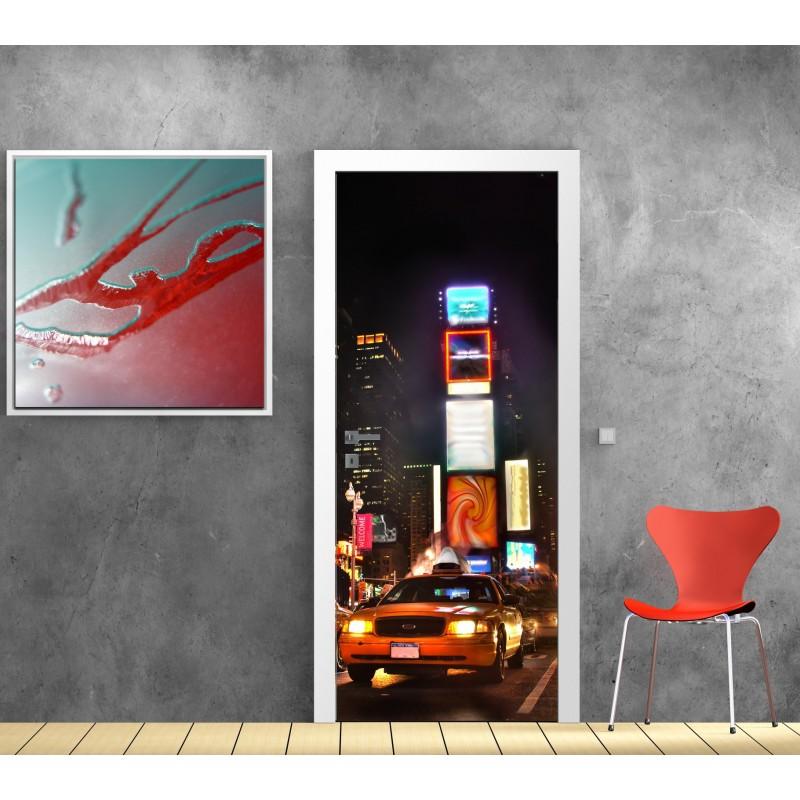 affiche poster pour porte new york taxi art d co stickers. Black Bedroom Furniture Sets. Home Design Ideas