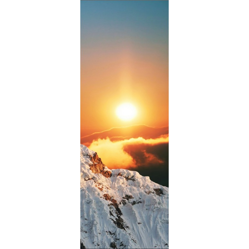 affiche poster pour porte montagne soleil art d co stickers. Black Bedroom Furniture Sets. Home Design Ideas