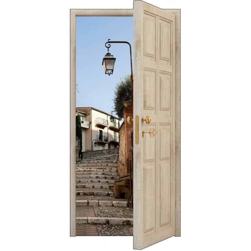 Sticker porte trompe l 39 oeil bois d co mont e rue art for Sticker deco porte interieure