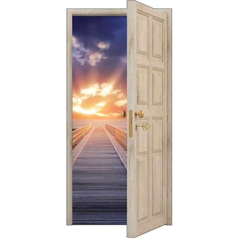 sticker porte trompe l 39 oeil bois d co ponton soleil art d co stickers. Black Bedroom Furniture Sets. Home Design Ideas