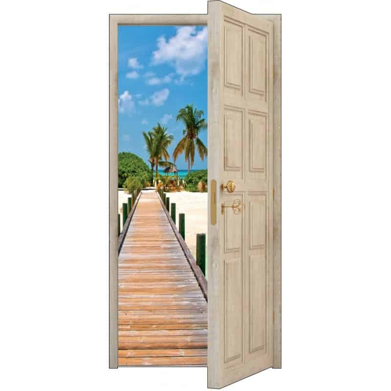 sticker porte trompe l 39 oeil bois d co les tropiques art d co stickers. Black Bedroom Furniture Sets. Home Design Ideas