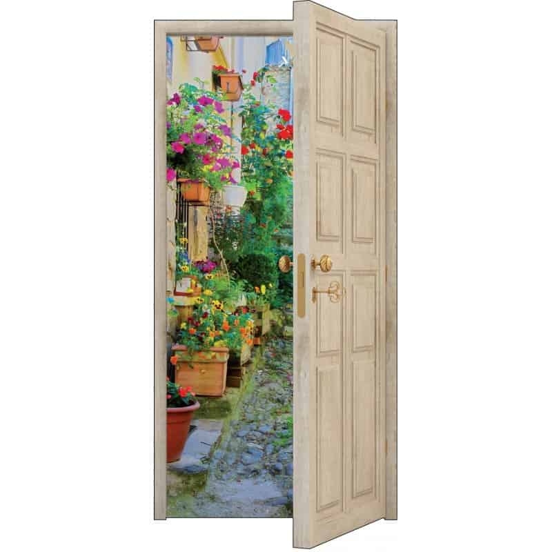 Sticker porte trompe l 39 oeil bois d co ruelle fleurie art for Decoration porte interieure poster sticker