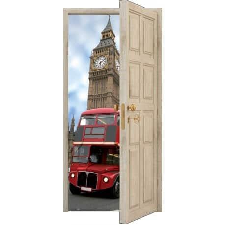 sticker porte trompe l 39 oeil bois d co bus anglais art d co stickers. Black Bedroom Furniture Sets. Home Design Ideas