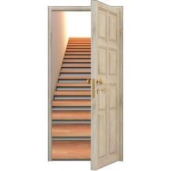 Sticker porte trompe l'oeil bois déco Escalier