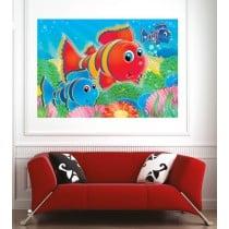 Affiche poster poissons multicolore
