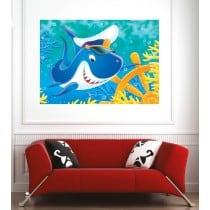 Affiche poster requin casquette