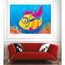 Affiche poster poisson lunette
