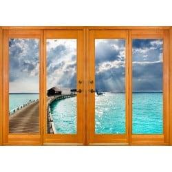 Stickers fenêtre trompe l'oeil Les Tropiques