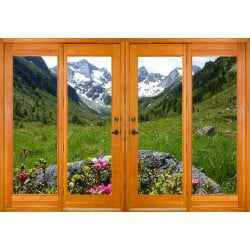 Stickers fenêtre trompe l'oeil paysage montagne