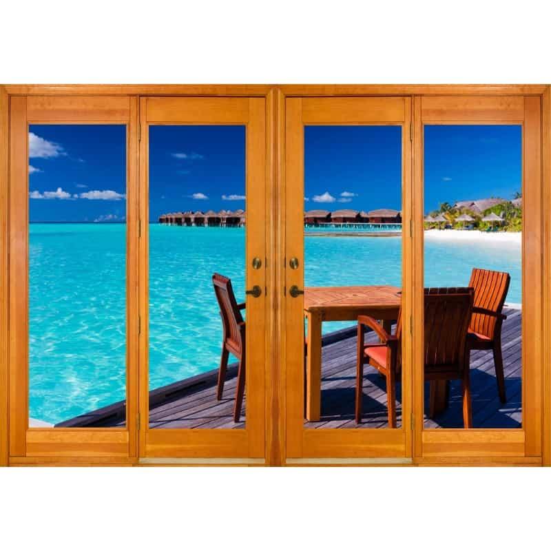 stickers fen tre trompe l 39 oeil vue les tropiques art. Black Bedroom Furniture Sets. Home Design Ideas