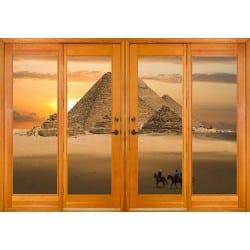 Stickers fenêtre trompe l'oeil Pyramides