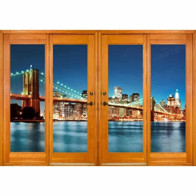 stickers fen tre trompe l 39 oeil pont de new york art d co stickers. Black Bedroom Furniture Sets. Home Design Ideas