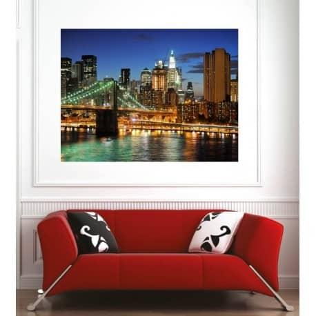 affiche poster ville pont de brooklyn art d co stickers. Black Bedroom Furniture Sets. Home Design Ideas