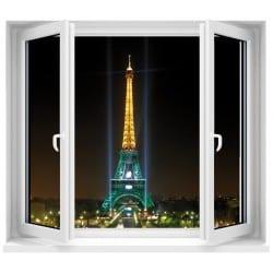 Sticker Fenêtre trompe l'oeil Paris la nuit