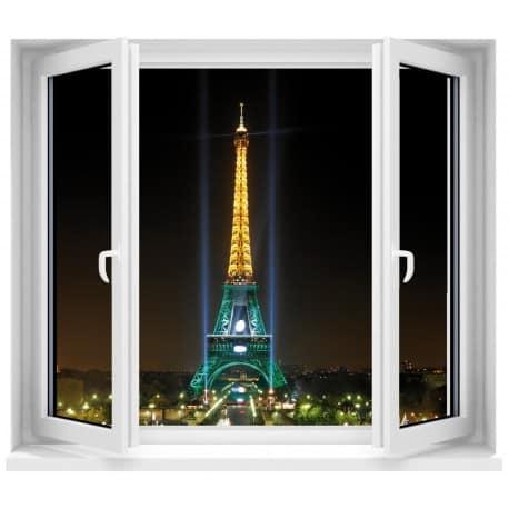Sticker Fenêtre Paris la nuit