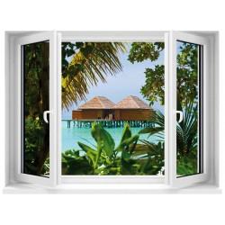Sticker trompe l'oeil Fenêtre Tropiques