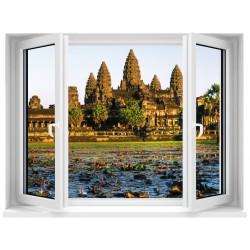 Sticker trompe l'oeil Fenêtre Temple Angkor