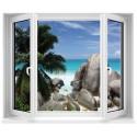 Sticker Fenêtre trompe l'oeil Seychelles