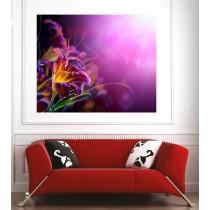 Affiche poster vue fleur fond violet