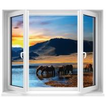 Sticker Fenêtre trompe l'oeil Chevaux