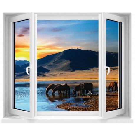 Sticker Fenêtre Chevaux