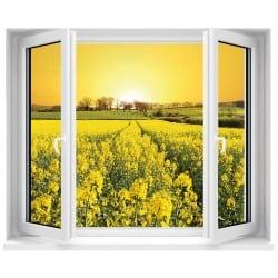 Sticker Fenêtre trompe l'oeil Fleurs Jaunes