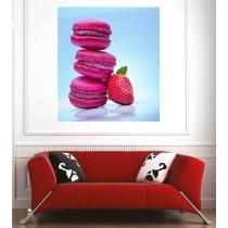 Affiche poster macaron fraise