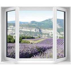 Sticker Fenêtre trompe l'oeil Lavande