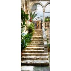 Papier peint porte déco - Escalier extérieur