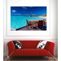 Affiche poster terasse vue sur la mer