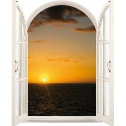 Sticker Fenêtre en trompe l'oeil Couché de soleil